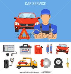 Car Service Concept with Flat Icons for Poster, Web Site, Advertising like Laptop Diagnostics, Tow Truck, Battery, Jack, Mechanic. isolated vector illustration