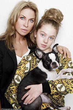 A girl's best friend: Meg Mathews and her daughter Anais pose with their cute Boston Terrier Oscar as they help launch Where's Mum?, a new anti-puppy farming campaign