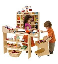 """Minus the conveyor belt, this setup has a """"Godsey's Store"""" feel, also without that pesky Corabeth Walton Godsey being all smarmy.  Best of all, the kid can make it any kind of market imaginable!"""