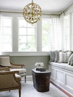 short curtains around a built-in bench | Courtney Giles Interiors