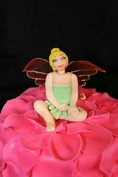 Edible Tinkerbell cake topper with gelatin wings