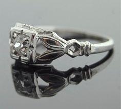 Antique Diamond Engagement Ring - 18k White Gold with European Cut Diamond
