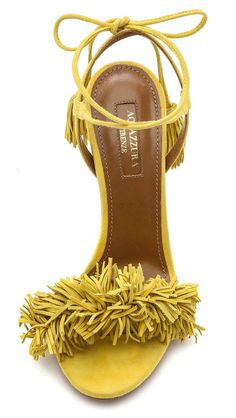 Women's Fashion High Heels : Emmy DE Aquazzura Wild Thing Fringe Sandals in Tulip Yellow - Stilettos, Pumps, Dream Shoes, Crazy Shoes, Me Too Shoes, Shoe Boots, Shoes Sandals, Heeled Sandals, Fringe Sandals
