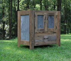 Rustic Vanity Reclaimed Barn Wood w/Tin Doors by Keeriah on Etsy