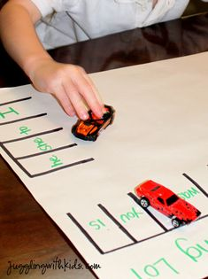 Here's a fun sight word parking lot game. Great for use in the classroom and for practice at home. (Free idea from Juggling with Kids.)