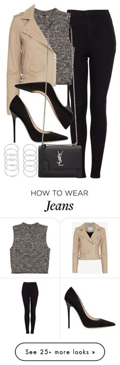 """Style #11082"" by vany-alvarado on Polyvore featuring Topshop, H&M, IRO, Jimmy Choo and Yves Saint Laurent"