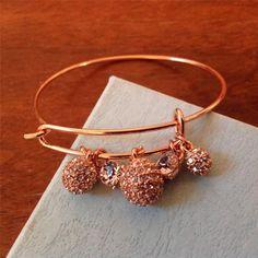 Every Day Stackable Rose Gold  Crystal Slider Charm Bangle Luxury Bracelet #Uniklook #bracelet