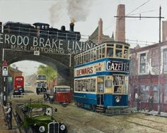 Painting of a vintage tram by Jack Holmes. A tram in the Camphill area of Birmingham. Birmingham Art, Birmingham England, Bus Coach, Selling Art, Sheffield, Paintings For Sale, Buy Art, Street View, History