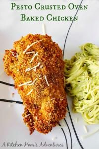 Pesto Crusted Oven Fried Chicken on MyRecipeMagic.com