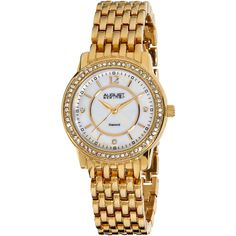 August Steiner Women's Diamond & Mother Of Pearl Watch, 32.5mm - Gold ($99) ❤ liked on Polyvore featuring jewelry, watches, gold, august steiner watches, gold watches, bezel watches, white watches and white gold watches