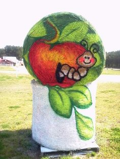 Painted Hay Bale at Hill Ridge Farms by Cyndi McKnight 2013