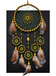 Yellow Dreamcatcher Dream Catcher Wall Hanging Native by GrandpaO Dream Catcher Mobile, Large Dream Catcher, Dream Catchers, Los Dreamcatchers, Hippie Style, Style Boho, Boho Chic, Diy And Crafts, Arts And Crafts