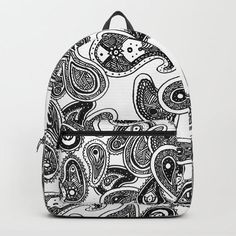 Tough durable ruck sack featuring print of @criagjiggy's handrawn paisley inspired pattern.  #TeamJiggy #CraigJiggyDraws #Society6 #rucksack #handdrawnartprint #artprints #bag #etsyshp #blm D Craft, Paisley Pattern, One Size Fits All, Fashion Backpack, How To Draw Hands, Handmade Items, Backpacks, Unisex, Black And White