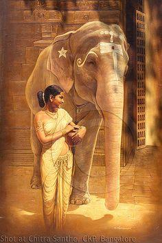 Nari with elephant Om Namah Shivaya, India Painting, Artist Painting, Beautiful Posters, Beautiful Paintings, Nepal, India Art, Indian Artist, African Animals