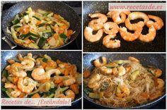 Receta de fideos de arroz chinos con gambas y verduras