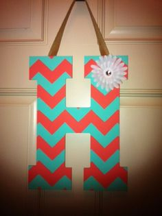 13 inch CHEVRON PRINT wooden decorative letter.  www.facebook.com/flowerscraftycreations