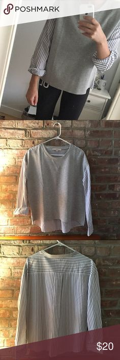 NWOT Loft Sweatshirt/shirt Never worn! Ripped tags off thinking I was going to wear - Ann Taylor Loft half great cotton front with classic stripe blouse for sleeves and back. Super cool can be dressed up or down!! LOFT Tops Blouses