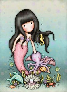 Erinnert mich an mein kleines Herz. Little Doll, Little Girls, Cute Images, Cute Pictures, Image Deco, Santoro London, Cute Cartoon Girl, Ideias Diy, Mermaid Art
