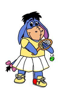 Eeyore Tennis by guilmonking.deviantart.com ~  poor Eeyore, he should not be wearing a dress!