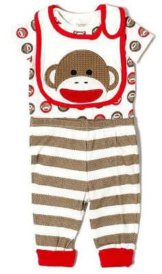 BESTSELLER! 3 Piece Sock Monkey Baby Outfit by Baby Starters $14.40