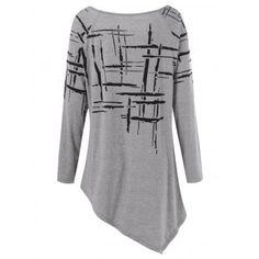 Splatter Paint Plus Size Asymmetric T-Shirt (GRAY,2XL) in Plus Size Tops | DressLily.com
