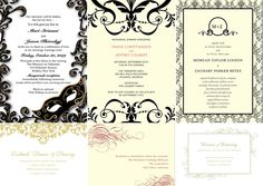 Mardi gras themed wedding invitations