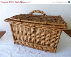 ON SALE Vintage French Willow Picnic Basket