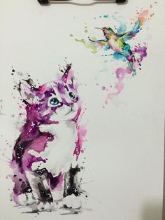 Watercolor Cat & Hummingbird Drawing. Drawn by @javiwolfink www.javiwolf.com