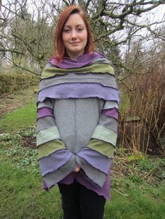 Upcycled Cowl Neck Jumper with Snood, Recycled Wool Knitwear in Charcoal Grey, Heather Purple & Green. Large Size. OOAK Handmade in UK.