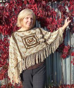 кофейное пончо - коричневый,пончо,вязаное пончо,Бабушкин квадрат,Яркая одежда