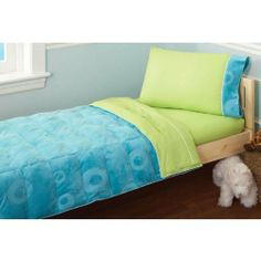 Embossed Toddler 4 Piece Bed Set Blue by Pem America. Save 21 Off!. $58.95. 100% polyester embossed coral fleece face material, cotton backing and pollyester fiber fill.. Quilt is 45 x 50 inches. 4 Piece Toddler Bed Set includes quilt and sheet set for toddler bed.. Imported.. Toddler sheet set is 100% cotton with 1 flat sheet, 1 fitted sheet and 1 pillowcase... Bright and fun this will make that first bed the only bed!  Embossed Toddler 4 Piece Bed Set Blue features: 4 Piece Toddle...
