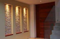 Have you given thought to adding some creativity to the wall… > stone for back wall of niches