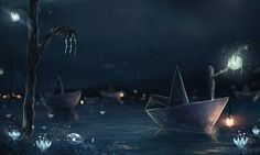 Paper Boat. A Mixture of Surrealism and Fantasy Digital Art. By Sylar113.
