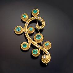 pin 22kt gold granulation paraiba diamond
