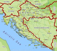 Kart over Kroatia Croatia Travel, Greece Travel, Bratislava, Historical Maps, My Heritage, Eastern Europe, European Travel, Slovenia, Geography