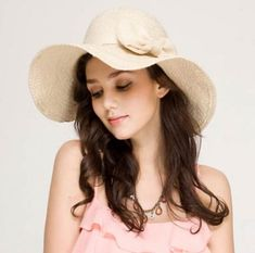 White floppy straw hat for women wide brim sun hats for summer beach wear