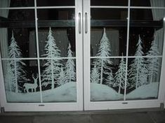 Snowy forest doors by Window-Painting on DeviantArt Christmas Window Display, Christmas Window Decorations, Winter Christmas, Christmas Home, Holiday Decor, Christmas Crafts, Christmas Window Paint, Box Decorations, Christmas Windows