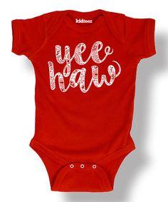Look at this #zulilyfind! Red 'Yee Haw' Bodysuit - Infant by Rodeo Rags #zulilyfinds