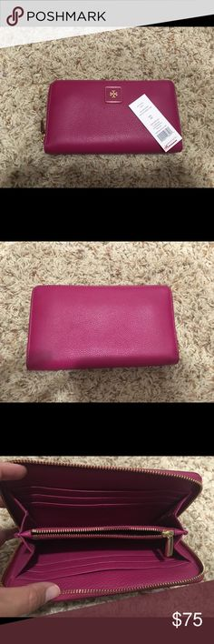 Tory burch NWT pink leather wallet Never used, beautiful pink color leather with many slots inside! Needs a home who will make  use of it! Tory Burch Accessories