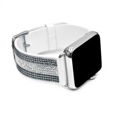 Apple Watch White Replacement Band with Crystal and Jet Hematite Swarovski Elements - Sheer Elegance Collection