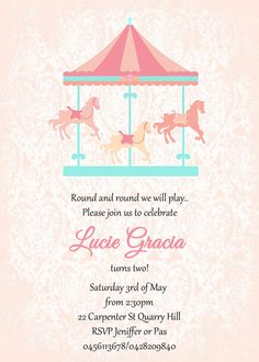 Carousel Invitation Pink Mint Birthday Party by WestminsterPaperCo ...