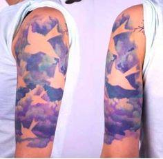 watercolor bird in cloud tattoo - 40 Awesome Cloud Tattoo Designs Trendy Tattoos, New Tattoos, Tattoos For Women, Cool Tattoos, Tatoos, Tattoo Sleeve Filler, Sleeve Tattoos, Spritzer Tattoo, Paint Splatter Tattoo