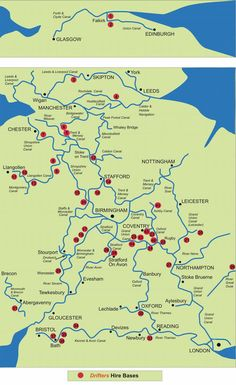 Map showing the canals, navigable rivers and inland waterways of the UK Narrowboat Holidays, Birmingham Canal, Map Of Great Britain, Narrowboat Interiors, Boating Holidays, Holidays In England, Canal Boat, Canal Barge, England And Scotland