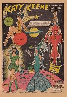The second issue of Katy Keene Fashion Book Magazine by MLJ/Archie Comics in Comic Book Paper, Comic Books, Vintage Paper Dolls, Vintage Art, Vintage Comics, Vintage Posters, Creation Art, Wow Art, Archie Comics
