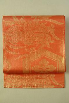 Persimmon fukuro obi (Rokutsu), Tortoiseshell and phenix pattern / 柿色×金地 亀甲花菱鳳凰文様 六通袋帯 #Kimono #Japan http://www.rakuten.co.jp/aiyama/