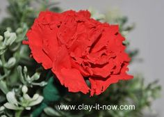 Red carnation tutorial in air dry soft clay. Red carnation symbolizes passion.