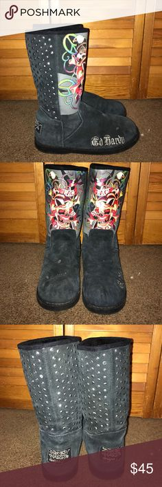 Ed Hardy Boots Ed Hardy Boots. Rhinestone backs (3 missing but not noticeable) There's some stains on the top of the foot, but I think they will wash out. Overall good condition. Make me an offer! Ed Hardy Shoes Winter & Rain Boots