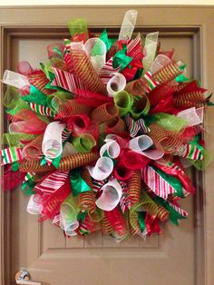 Another Curly Deco Mesh Christmas Wreath