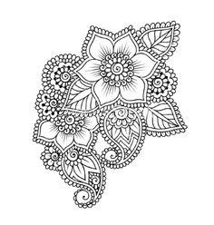 Handdrawn abstract henna mehndi flower ornament vector