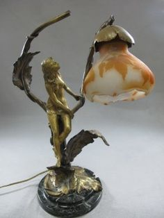 Galle glass & bronze lamp